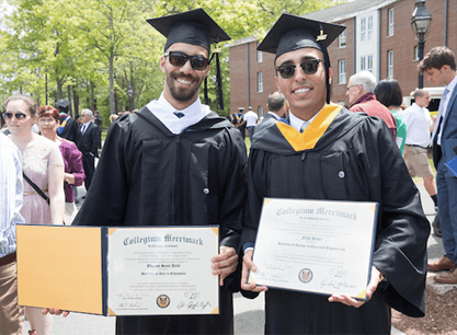 two happy Merrimack College graduates